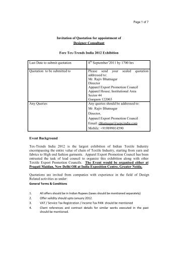 Invitation Of Quotation For Providing Medical Room For Tex-Trends