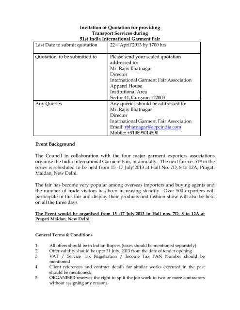 Invitation of Quotation for providing Transport Services