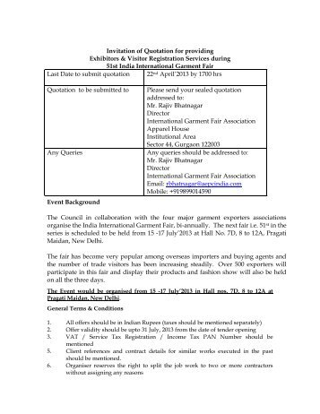 Invitation of Quotation for providing Exhibitors & Visitor Registration ...