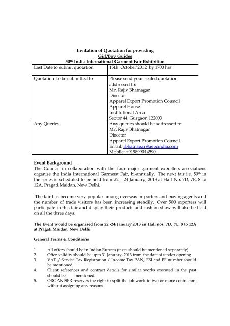 Invitation of Quotation for providing Girl/Boy Guides 50th