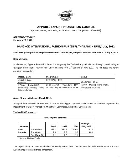 APPAREL EXPORT PROMOTION COUNCIL