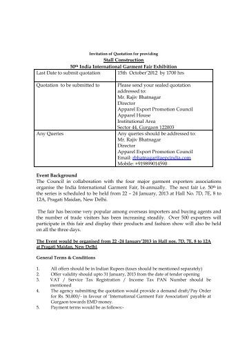 Invitation Of Quotation For Providing Exhibitors & Visitor