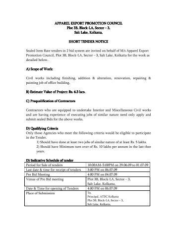 Short Notice Tender AEPC Kolkatta - Apparel Export Promotion ...