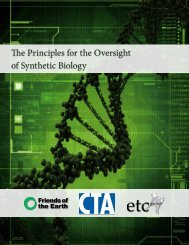 The Principles for the Oversight of Synthetic Biology ... - ETC Group