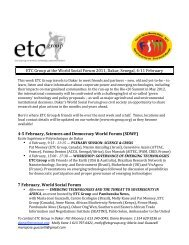 ETC Group at the World Social Forum 2011, Dakar, Senegal, 4‐11 ...