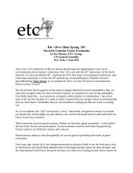 International Headquarters: - ETC Group