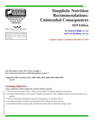 Unintended Consequences - Nutrition411.com