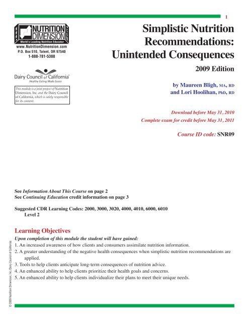 Simplistic Nutriton Recommendations Pdf Nutrition411 Com