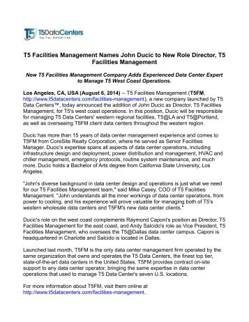 T5 Facilities Management to Deliver Best-in-Class Data Center ...