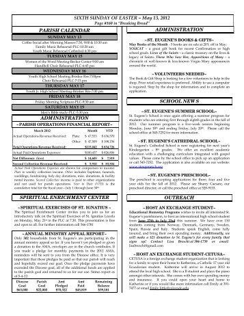 SIXTH SUNDAY OF EASTER – May 13, 2012 PARISH CALENDAR ...