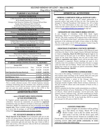 March 04, 2012 PARISH CALENDAR ADMINISTRATION ...