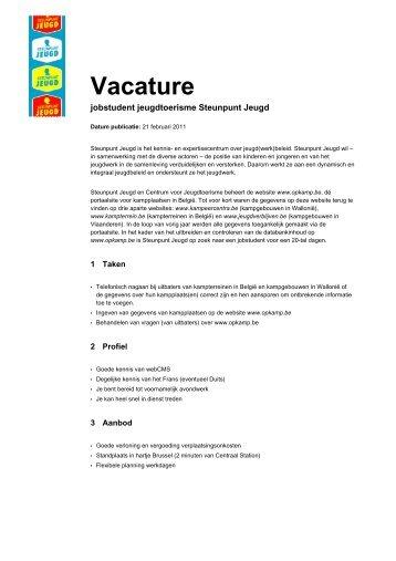 Vacature jobstudent jeugdtoerisme (pdf) - Steunpunt Jeugd
