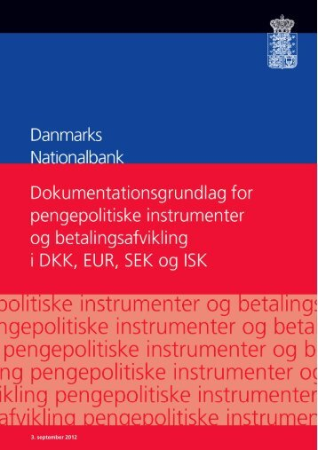 Anmodning om foliokonto i danske kroner i Danmarks Nationalbank