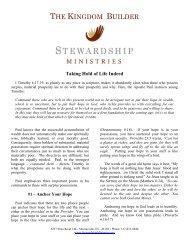 THE KINGDOM BUILDER - Stewardship Ministries