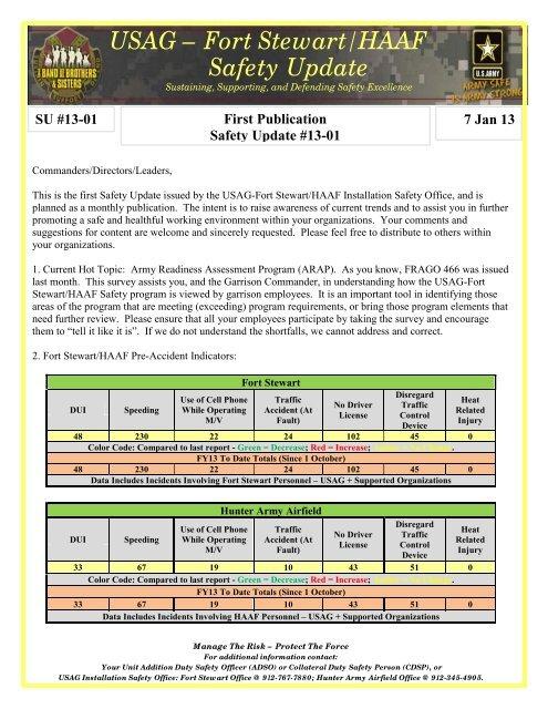 USAG Fort Stewart HAAF Safety Update Fort Stewart