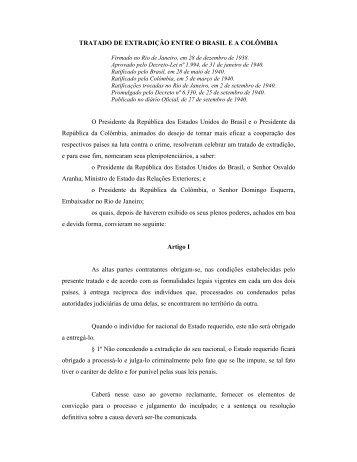 TRATADO DE EXTRADIÇÃO ENTRE O BRASIL E A ... - STF