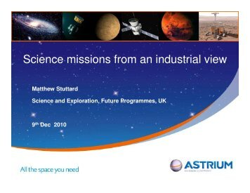 Science missions from an industrial view (PDF - 4767kB - link opens ...