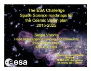 The ESA Challenge Space Science roadmaps for the Cosmic Vision ...