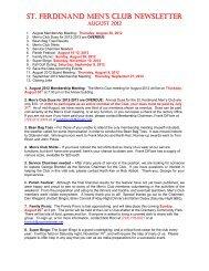 st. ferdinand men's club newsletter - St Ferdinand Parish - Home Page