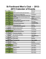 St Ferdinand Men's Club - 2012- 2013 Calendar of Events