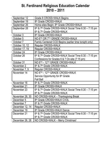 St. Ferdinand Religious Education Calendar 2010 – 2011