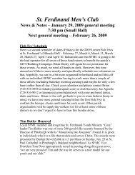 St. Ferdinand Men's Club - St Ferdinand Parish - Home Page