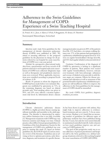 Adherence to the Swiss guidelines for management of COPD ...