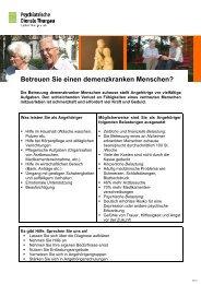 Betreuen Sie einen demenzkranken Menschen? - Spital Thurgau AG