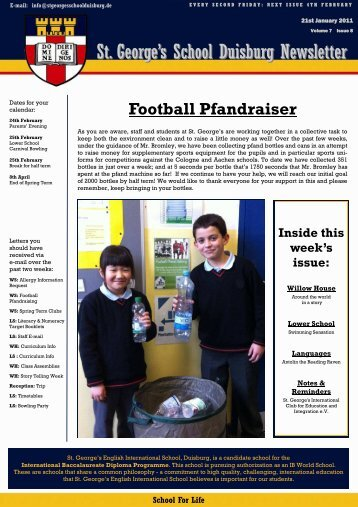 St. George's School Duisburg Newsletter
