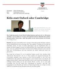 Köln statt Oxford oder Cambridge - St.George's School
