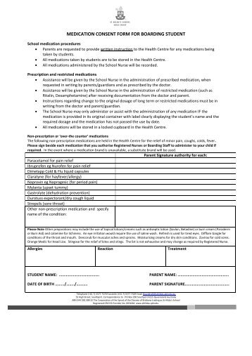Medication Consent Form For Boarding Student