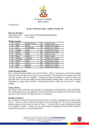 year 1 newsletter – term 2, week 3b - St Hildas School