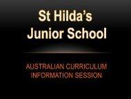 Australian Curriculum Presentation - St Hildas School