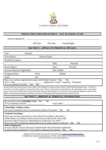 Application Form - St Hildas School