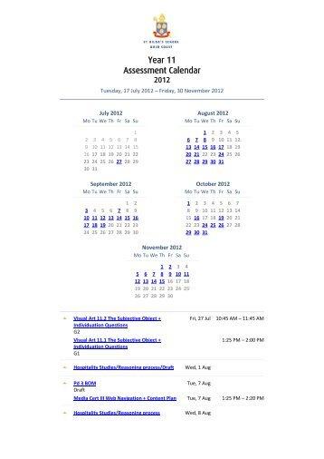 Year 11 Assessment Calendar - St Hildas School