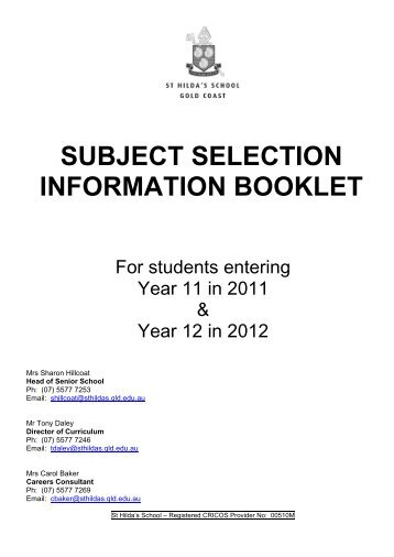 subject booklet for year 11-12 - St Hildas School