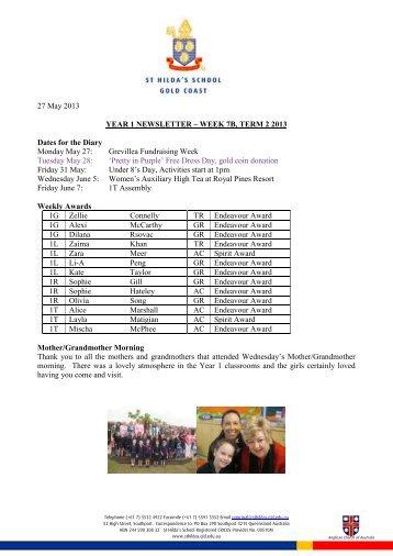 27 May 2013 YEAR 1 NEWSLETTER – WEEK 7B ... - St Hildas School