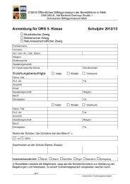 Anmeldung für ORG 5. Klasse Schuljahr 2012/13 - Stiftsgymnasium ...