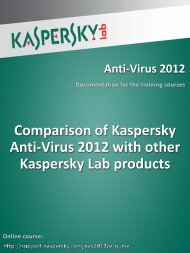 Comparison of Kaspersky Anti-Virus 2012 with other Kaspersky Lab ...