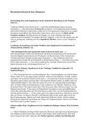 Rezensionen Konzerte Kay Johannsen - Stiftskirche Stuttgart