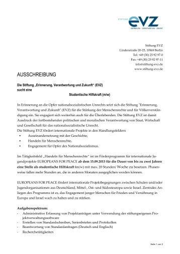 """Ausschreibung studentische Hilfskraft (pdf) - Stiftung """"Erinnerung ..."""