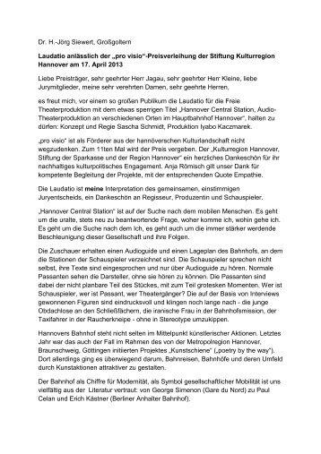 "Laudatio zu ""Hannover Central Station"" - Stiftung Kulturregion ..."