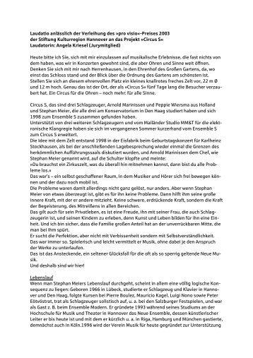 Laudatio pro visio 2003 - Stiftung Kulturregion Hannover