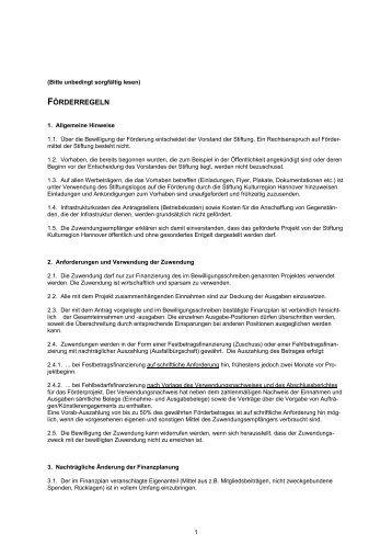 FÖRDERREGELN - Stiftung Kulturregion Hannover