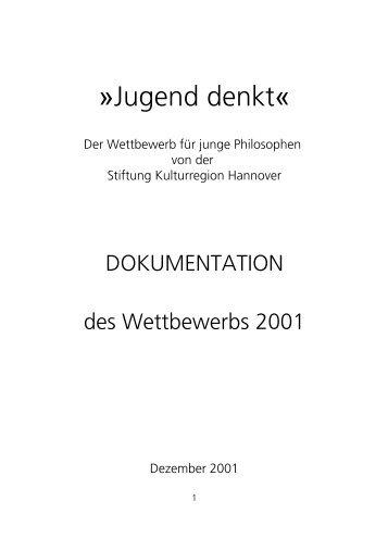 Dokumentation Jugend denkt 2001 - Stiftung Kulturregion Hannover