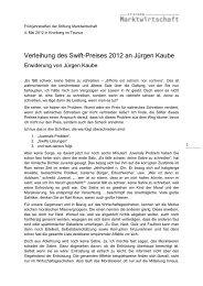 Erwiderung des Swift-Preisträgers Jürgen Kaube - Stiftung ...