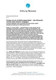 Presseinfo Januar 10: Neujahrsempfang 2010 - Stiftung Mercator
