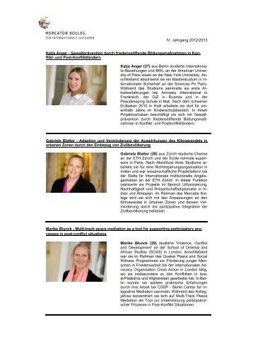 Kurzportraits der Kollegiaten Jahrgang 2012-13 - Stiftung Mercator