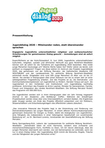 090608_PM Jugenddialog 2020 Start-final - Stiftung Mercator