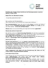 Rede von Bernhard Lorentz - Junge Islam Konferenz